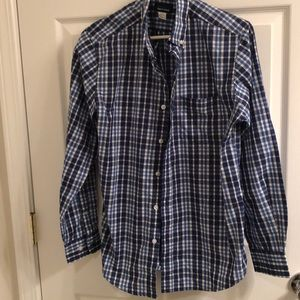 Blue and white boxed casual shirt used good small